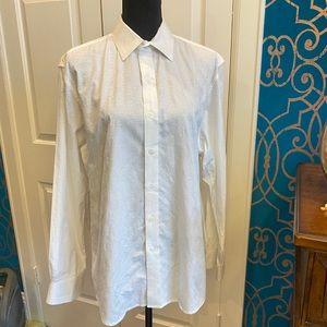 Tasso Elba Textured White Button Down Dress Shirt
